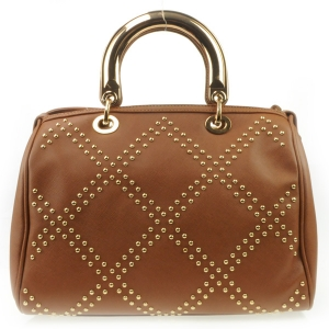 Studded Pattern Satchel X27 31489 BROWN