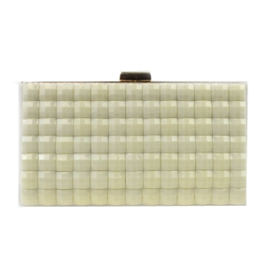 Gold Frame Colored Stones Evening Bag X26 31540 IVORY