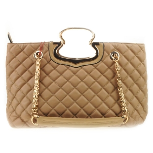 Quilted Chain Strap Handbag X14 31554 TAUPE