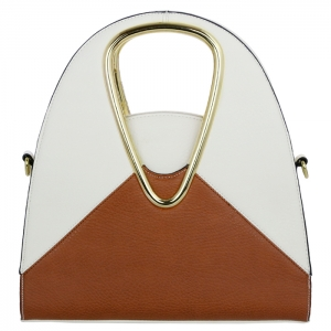 V-Shaped Handle Two Tone Faux Leather Handbag 31562 - Brown / Beige