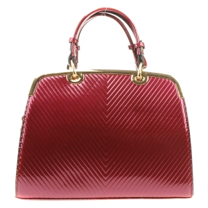 Textured Metal Frame Patent Tote X14 31591 BURGUNDY