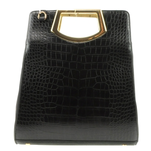 Two Tone Alligator Gold Handle Bag X24 31616  BLACK