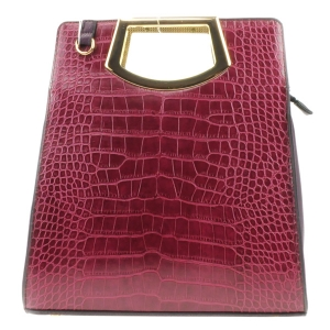 Two Tone Alligator Gold Handle Bag X24 31616 BURGUNDY PURPLE