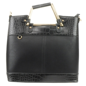 Two Tone Alligator Skin Handbag 31619 BLACK