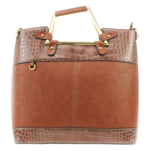 Two Tone Alligator Skin Handbag 31619 BROWN