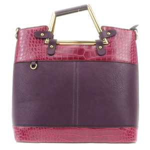 Two Tone Alligator Skin Handbag 31619 BURGUNDY PURPLE