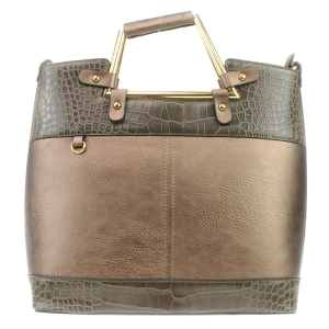 Two Tone Alligator Skin Handbag 31619 KHAKI SILVER