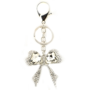 Bow Tie Stoned Key Chain X26 31677 SILVER
