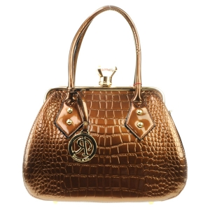 Alligator Croc Diamond Lock Tote X24 31702 BRONZE