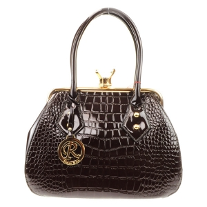 Alligator Croc Diamond Lock Tote X24 31702 COFFEE