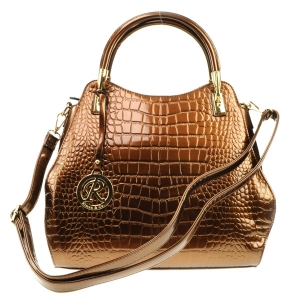 Alligator Patent Gold Accent Handle Tote X24 31707 BRONZE