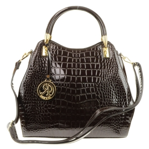 Alligator Patent Gold Accent Handle Tote X24 31707 BROWN