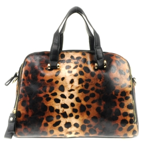Cheetah Leopard Print Double Comp. Handbag X42 31717 BROWN AND BLACK