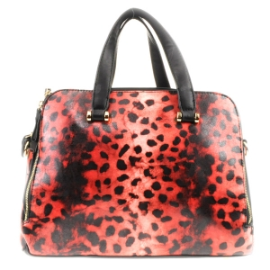 Cheetah Leopard Print Double Comp. Handbag X42 31717 RED AND BLACK
