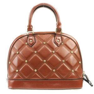 Rhinestone Quilted Look Handbag X42 31727 BROWN