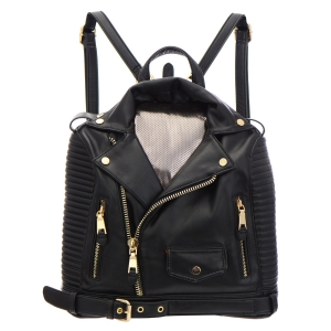 Leather Jacket Designed Backpack 31741 - Black
