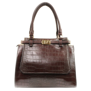 Alligator Skin Look Tote Bag X42 31765 COFFEE
