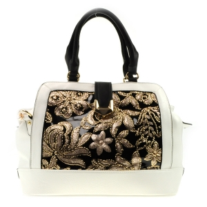Sequin Flowers Satchel X14 31805 WHITE