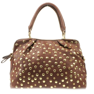 Rhinestone Studs Sathel Bag X36 31921 BROWN