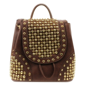 Rhinestone Studded Backpack X36 31924 BROWN