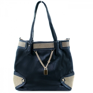 Faux Leather Handbag w/ Gold Studs and Locket Charm - Black