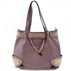 Faux Leather Handbag w/ Gold Studs and Locket Charm - Grey