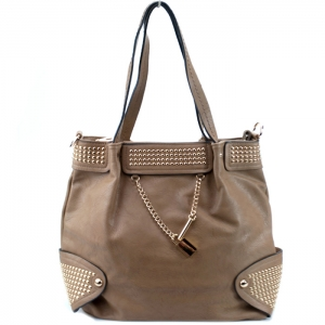 Faux Leather Handbag w/ Gold Studs and Locket Charm -Mud