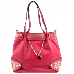 Faux Leather Handbag w/ Gold Studs and Locket Charm - Red