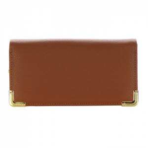 Double Flap Faux Leather Gold Metal Accent Wallet 31936 - Brown