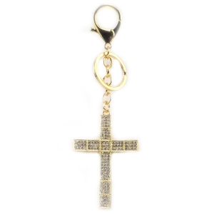 Rhinestone Cross Key Chain X26 31942 GOLD