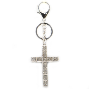 Rhinestone Cross Key Chain X26 31942 SILVER