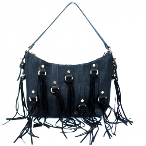 Stylish Faux Leather Handbag w/ Gold Tone Trim and Tassels= Black