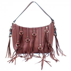 Stylish Faux Leather Handbag w/ Gold Tone Trim and Tassels= Brown