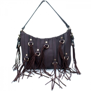 Stylish Faux Leather Handbag w/ Gold Tone Trim and Tassels= Coffee