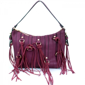 Stylish Faux Leather Handbag w/ Gold Tone Trim and Tassels= Magenta