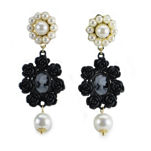 Earrings Pearls and Roses 31963 Gold Frame