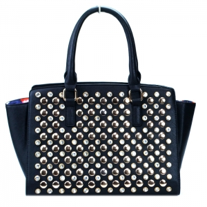 Classy Faux Leather Handbag w/ Gold Studs and Rhinestone Decor - Black