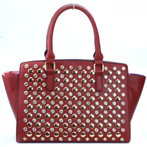 Classy Faux Leather Handbag w/ Gold Studs and Rhinestone Decor - Brown