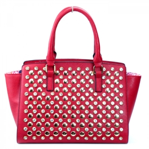 Classy Faux Leather Handbag w/ Gold Studs and Rhinestone Decor - Red