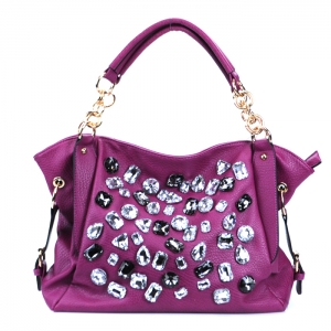 Faux Leather Handbag w/ Faux Glass Stone and Gold tone Trim - Magenta