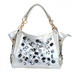 Faux Leather Handbag w/ Faux Glass Stone and Gold tone Trim - White