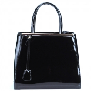 Luxury Faux Patent Leather Handbag w Hanging Charm- Black