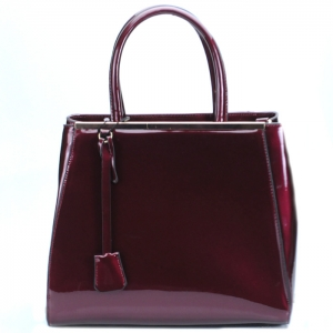 Luxury Faux Patent Leather Handbag w Hanging Charm- Burandy