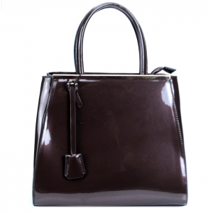 Luxury Faux Patent Leather Handbag w Hanging Charm- Coffee
