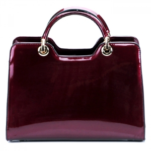 Luxury Faux Patent Leather Handbag- Burgandy