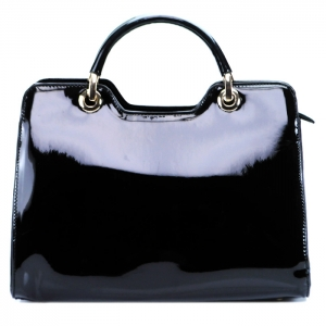 Luxury Faux Patent Leather Handbag- Black