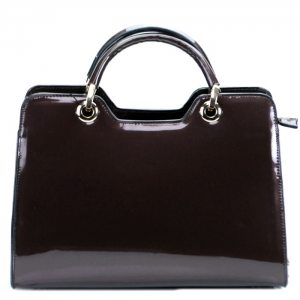 Luxury Faux Patent Leather Handbag-Coffee