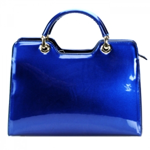Luxury Faux Patent Leather Handbag- Navy