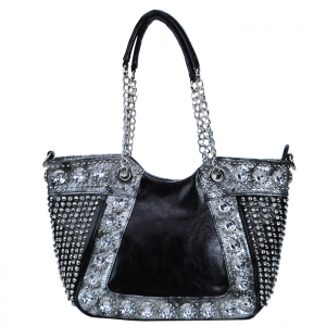 Faux Leather Diamond Studded Link-Chain Handle Two Tone Color Handbag - Black