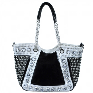 Faux Leather Diamond Studded Link-Chain Handle Two Tone Color Handbag - White